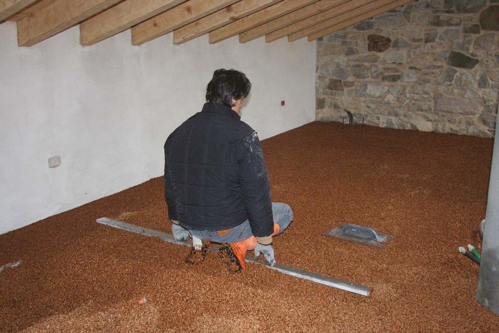Massetto a secco in cemento legno u hotel la gare milano
